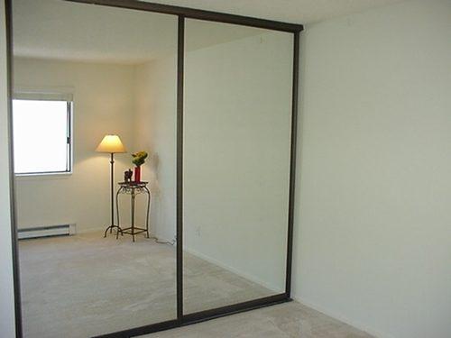 Полностью зеркальная раздвижная дверь