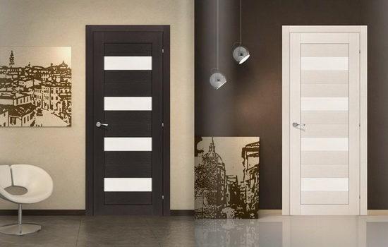 Ламинированные межкомнатные двери со стеклянными вставками