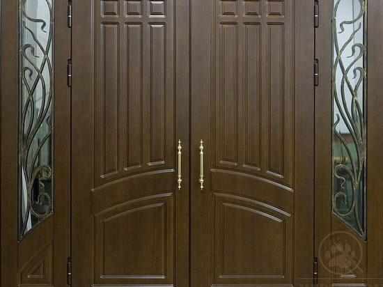 Двупольная дверь из дерева на входе в дом