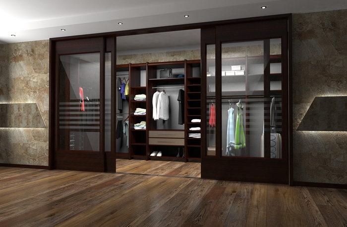 Раздвижные двери каскадного типа в гардеробную комнату
