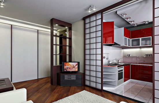 Деревянные раздвижные двери для кухни