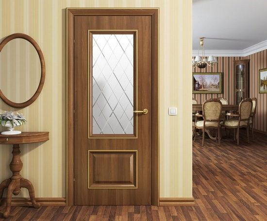 Двери межкомнатные: темный орех