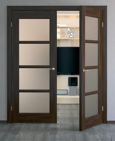 Шпонированные межкомнатные двери со стеклянными вставками