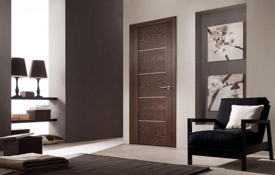 Ламинированная темно-коричневая межкомнатная дверь