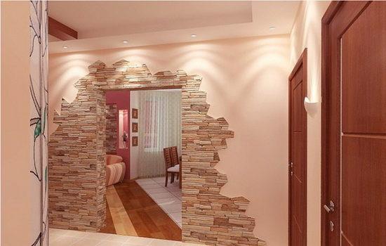 Оформление проема двери с использованием искусственного камня