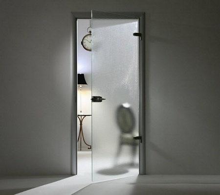 Распашные стеклянные двери без коробки