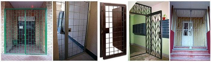 Решетчатые двери в интерьере здания