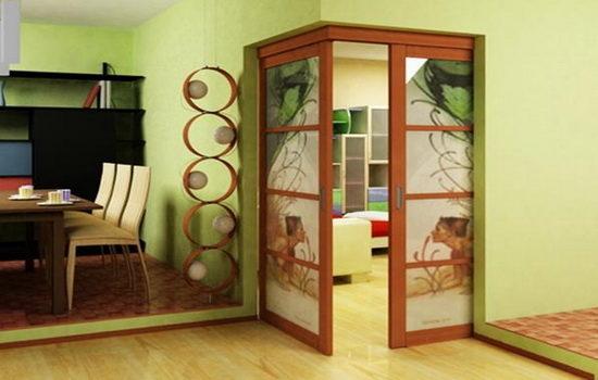 Угловые межкомнатные двери в интерьере фото