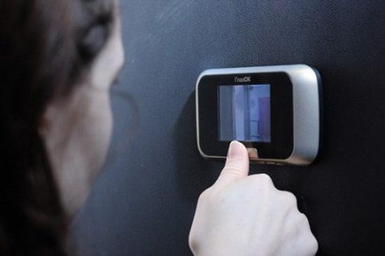 Двойные двери с установленной системой видеонаблюдения