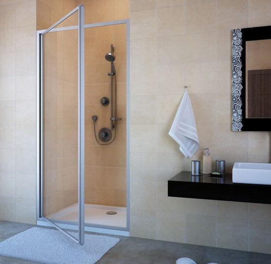 Стандартная комплектация стеклянных дверей для душа распашного типа