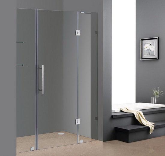 Распашной вариант дверей в душ