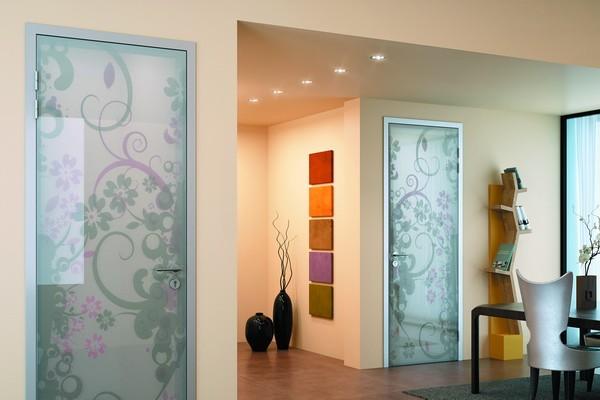 способы оформления стеклянных матовых дверей