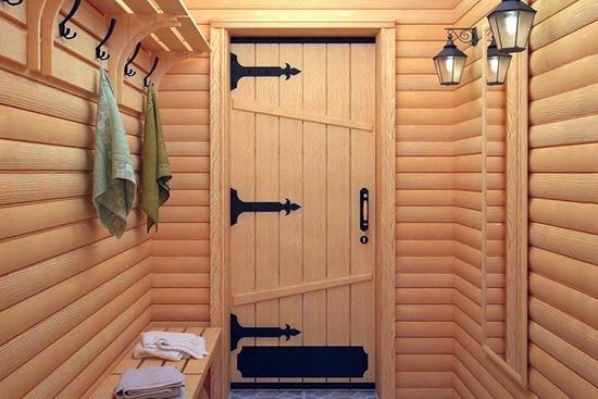 Деревянные входные двери для бани фото