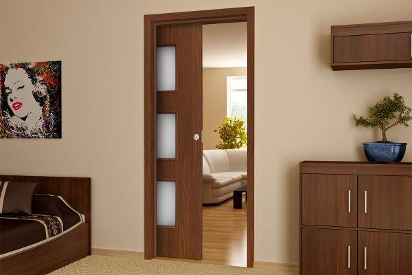 Раздвижные одностворчатые двери в интерьере фото