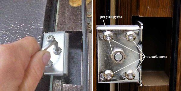 Устранение трения о коробку входной металлической двери